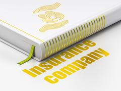 Stock Illustration of Insurance concept: book Family And Palm, Insurance Company on white background