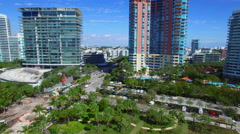 Aerial South Pointe Park and condominiums - stock footage