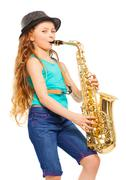 Smiling girl with hat playing alto saxophone - stock photo
