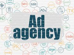 Marketing concept: Ad Agency on wall background - stock illustration