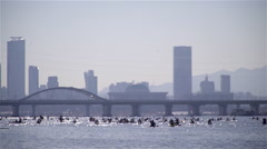 Scenery of Kayak at Hangang River on The March 1st Movement in South Korea Stock Footage