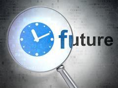 Time concept: Clock and Future with optical glass Stock Illustration