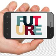 Time concept: Hand Holding Smartphone with Future on  display - stock illustration