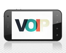 Web design concept: Smartphone with VOIP on  display - stock illustration