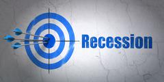 Stock Illustration of Business concept: target and Recession on wall background