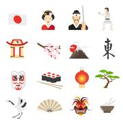 Japan Icons Set - stock illustration