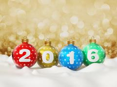 2016 text on multi colored christmas baubles Stock Illustration
