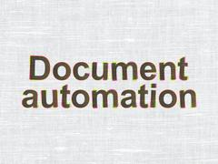 Finance concept: Document Automation on fabric texture background Stock Illustration