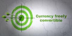 Currency concept: target and Currency freely Convertible on wall background Piirros