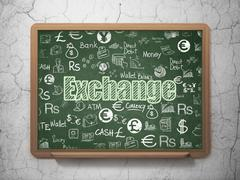 Money concept: Exchange on School Board background - stock illustration