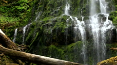 View of Waterfall with Green Mossy Rocks Stock Footage