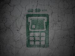Money concept: ATM Machine on grunge wall background - stock illustration