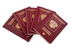 Five passports Russian Federation - stock photo