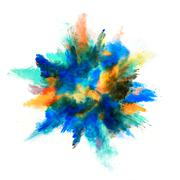 Stock Photo of Explosion of colored powder on white background