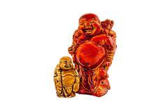 Big and small Budai Hotei netsukes - stock photo