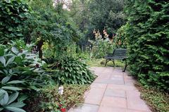 Stock Photo of Path and bench in garden