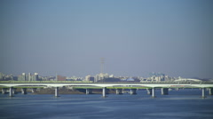 The View of Hangang River with Greenline Subway on Bridge in Seoul Stock Footage