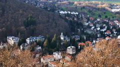 4k Bad Harzburg village buildings high angle panning Germany Stock Footage