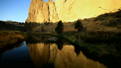 View of the Glowing Cliffs in Smith Rock State Park Stock Footage