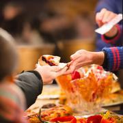 Hands holding piece of apple pie Stock Photos