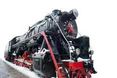 Black old train from USSR - stock photo