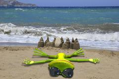 Green frog on the beach - stock illustration