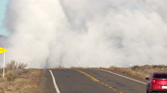 Smoke over the road Stock Footage