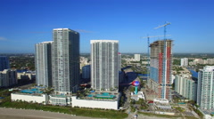 Beachfront condominiums Hallandale Stock Footage
