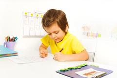 Concentrated small boy write with pencil alone - stock photo