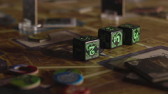 Roll Three Dice on the Game Board Stock Footage
