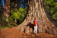 Woman with straight arms in Redwood California - stock photo