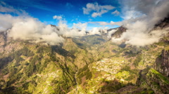 Curral das freiras view from Eira do Serrado, Madeira, Portugal Stock Footage