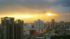 Timelapse of Dramatic scenery sunset of the city center at Novosibirsk. Russia Stock Footage