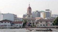 Stock Video Footage of Santa Cruz Church and Boat