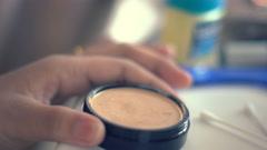 Using makeup powder and brush. 4k UHD (3840x2160) - stock footage