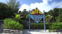 Sign of Coco Cay Island, Bahamas Island Stock Footage