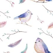 Watercolor  spring  rustic pattern with nest, birds, branch,tree - stock illustration