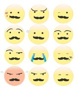 Stock Illustration of Smiley with a mustache