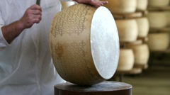 cheese maker test the quality of a seasoned Grana Parmesan cheese. Slow motion - stock footage