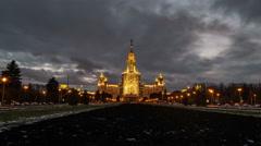 Lomonosov Moscow State University at night Stock Footage