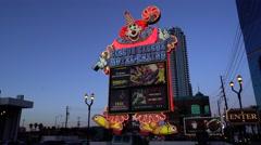 Famous clown sign of Circus circus casino hotel - Las Vegas Stock Footage