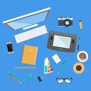 Workspace Top View Illustration - stock illustration