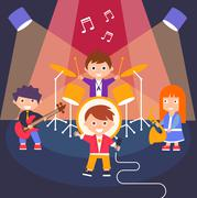 Kids Rock Band, Vector Illustration - stock illustration