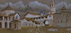 THE WHITE STONE CHURCH ENSEMBLE LOOKS LIKE A SLIM PALACE - stock illustration