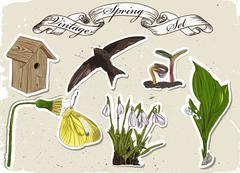 Vintage set of spring elements. Stock Illustration