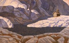 ILLUSTRATION OF A CHAPEL IN THE MIDDLE OF MOUNTAINS - stock illustration
