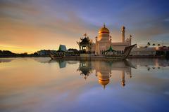 Sultan Omar Ali Saifuddien Mosque Stock Photos