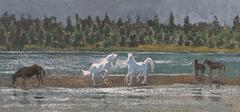 Stock Illustration of ILLUSTRATION OF HORSES PLAYING ON THE SEASIDE