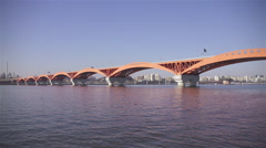 The View of Seongsan Bridge at Hangang River in Mangwon area Stock Footage