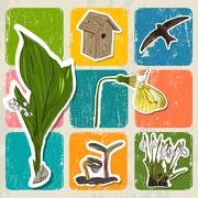 Bright poster with spring elements. Stock Illustration